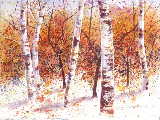 Autumn Woods in Watercolor