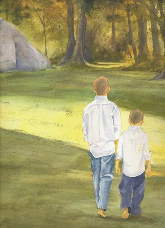 The Boys at Herring Run in Watercolor